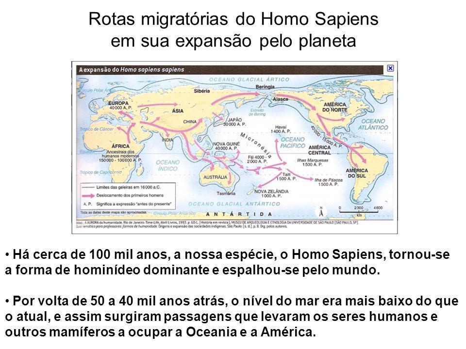 Rotas migratórias do Homo Sapiens em sua expansão pelo planeta