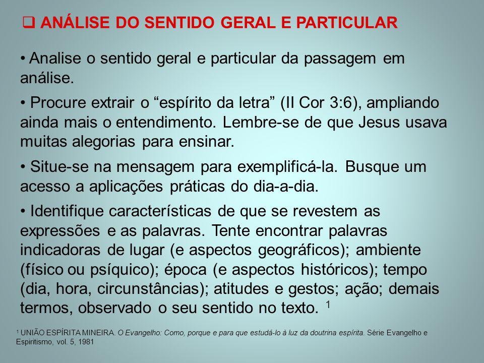 ANÁLISE DO SENTIDO GERAL E PARTICULAR