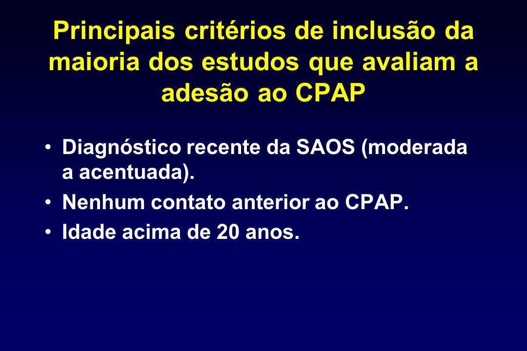 Principais critérios de inclusão da maioria dos estudos que avaliam a adesão ao CPAP