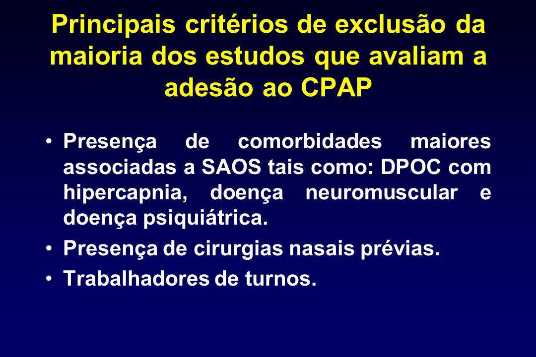 Principais critérios de exclusão da maioria dos estudos que avaliam a adesão ao CPAP
