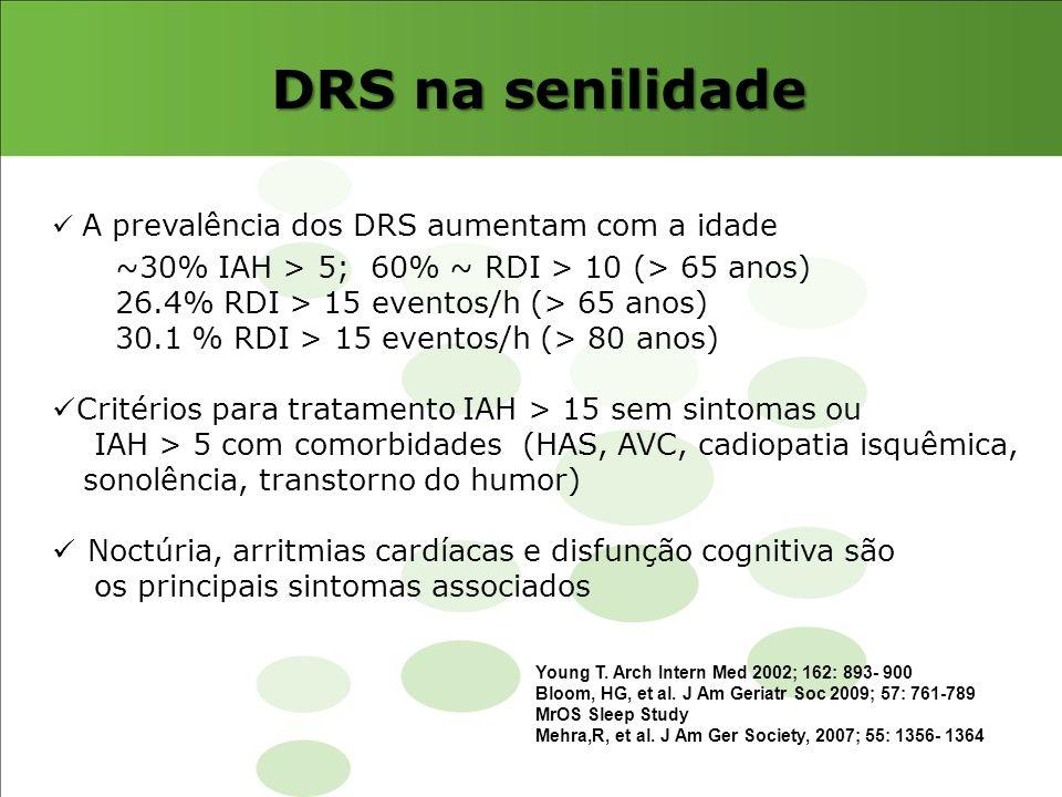 DRS na senilidade ~30% IAH > 5; 60% ~ RDI > 10 (> 65 anos)