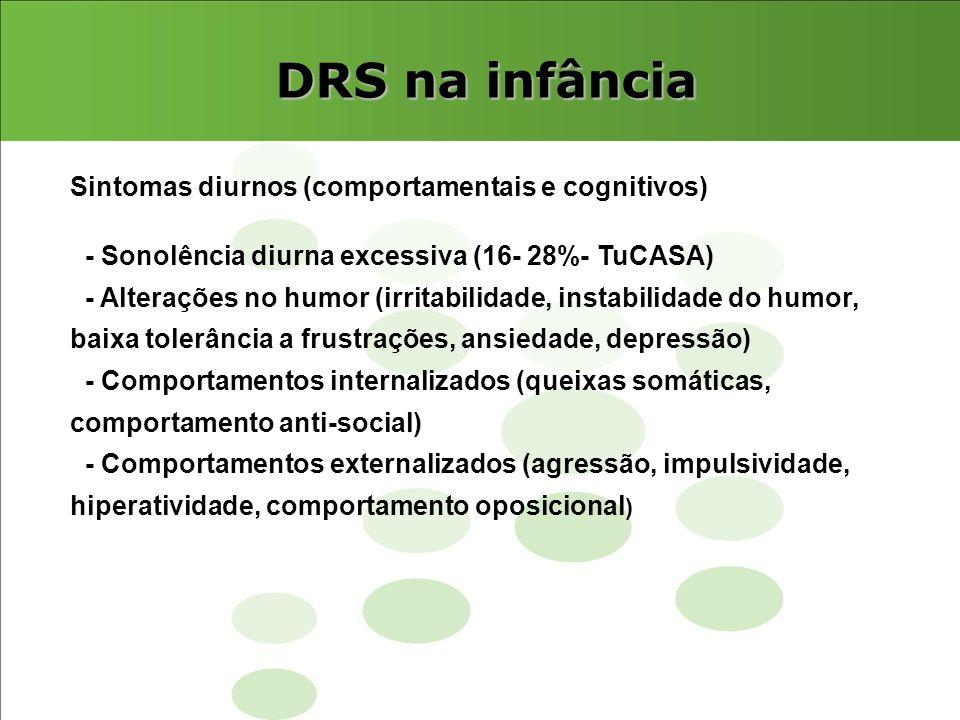 DRS na infância Sintomas diurnos (comportamentais e cognitivos)
