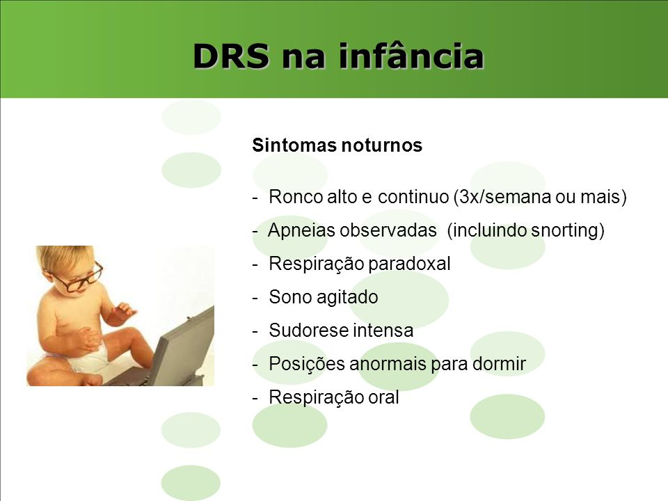 DRS na infância Sintomas noturnos
