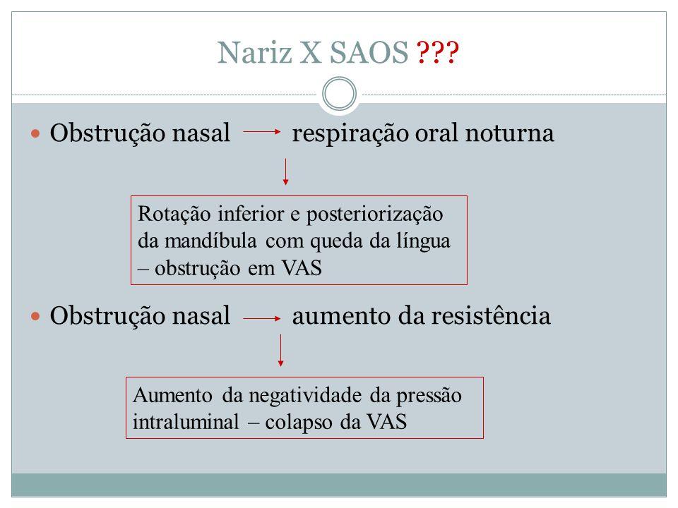 Nariz X SAOS Obstrução nasal respiração oral noturna
