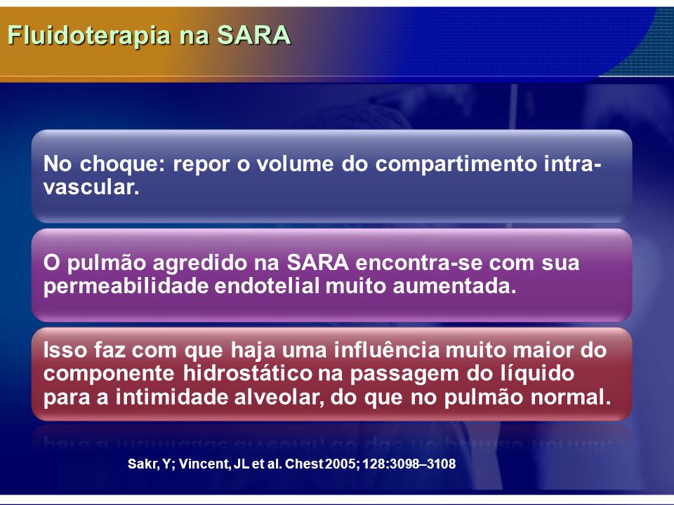 Fluidoterapia na SARA No choque: repor o volume do compartimento intra-vascular.