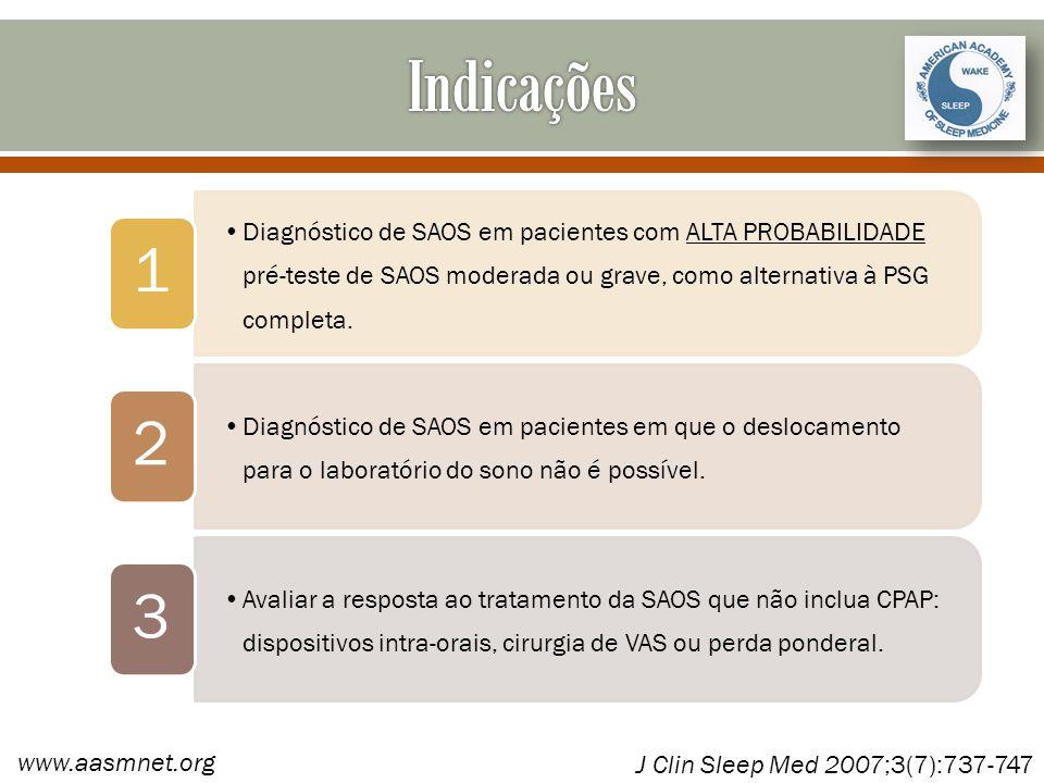 Indicações 1. Diagnóstico de SAOS em pacientes com ALTA PROBABILIDADE pré-teste de SAOS moderada ou grave, como alternativa à PSG completa.