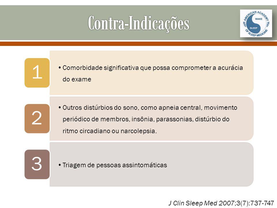 Contra-Indicações 1. Comorbidade significativa que possa comprometer a acurácia do exame. 2.
