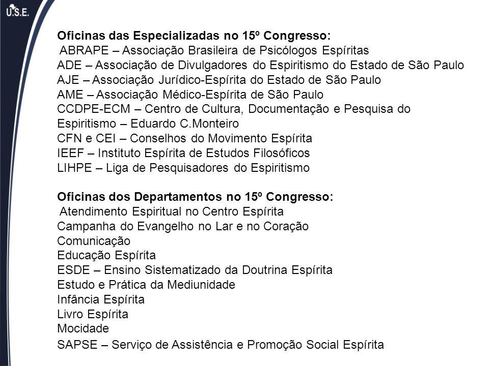 Oficinas das Especializadas no 15º Congresso: