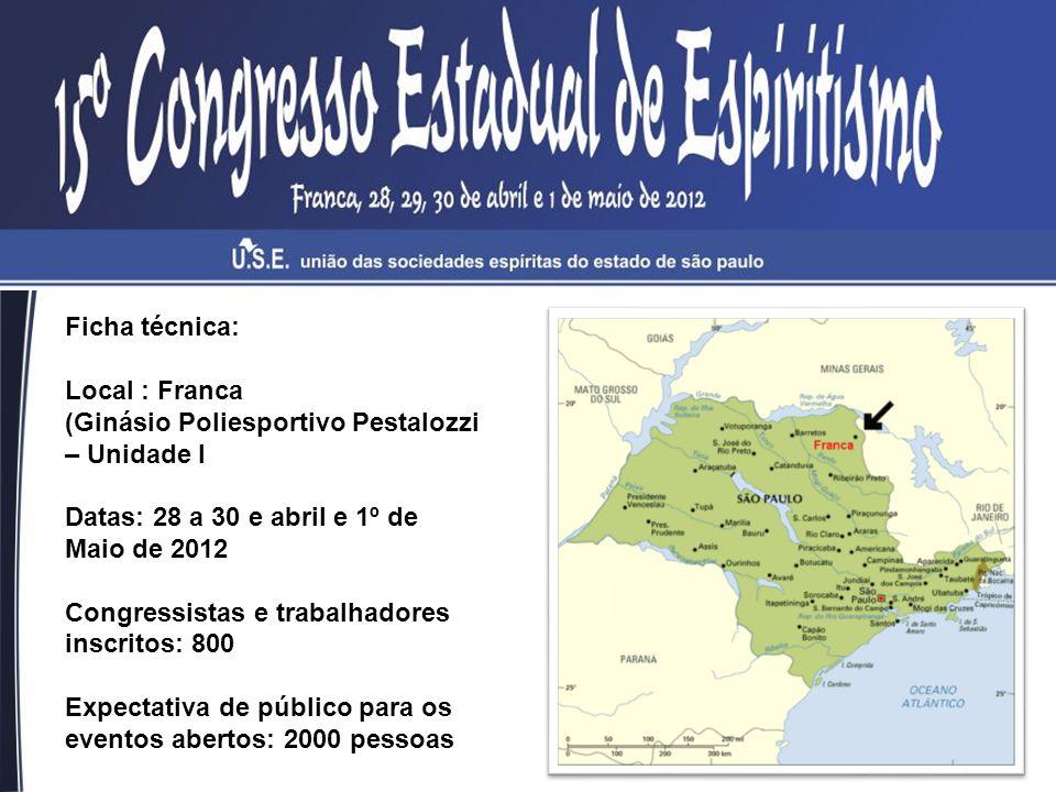 Ficha técnica: Local : Franca. (Ginásio Poliesportivo Pestalozzi – Unidade I. Datas: 28 a 30 e abril e 1º de Maio de 2012.