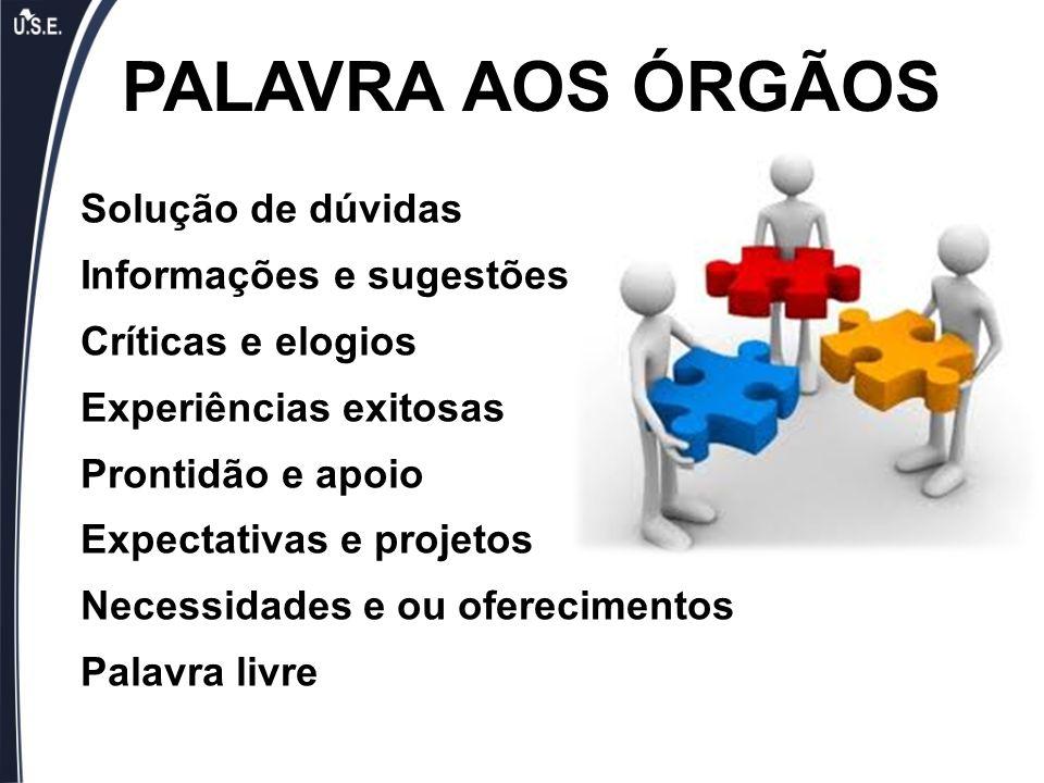 PALAVRA AOS ÓRGÃOS Solução de dúvidas Informações e sugestões
