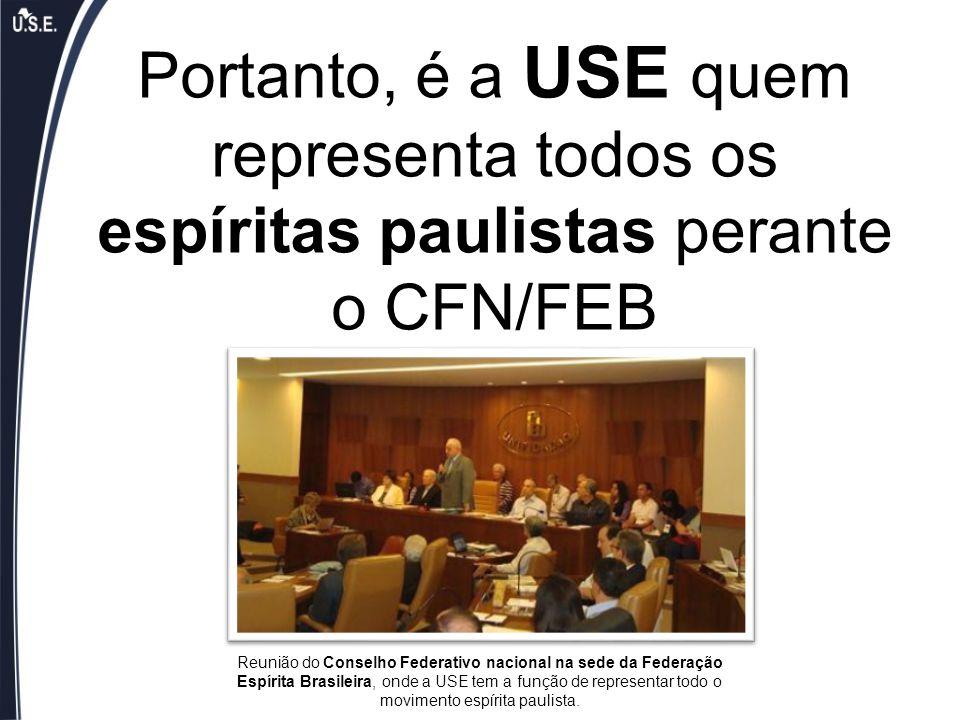Portanto, é a USE quem representa todos os espíritas paulistas perante o CFN/FEB