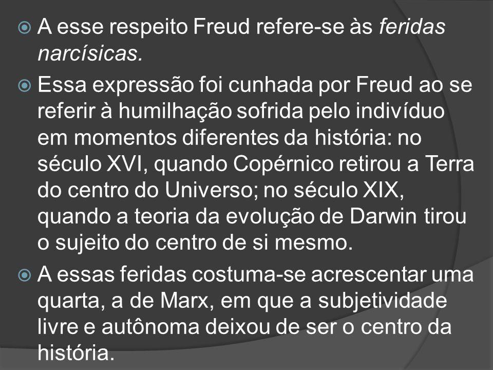 A esse respeito Freud refere-se às feridas narcísicas.