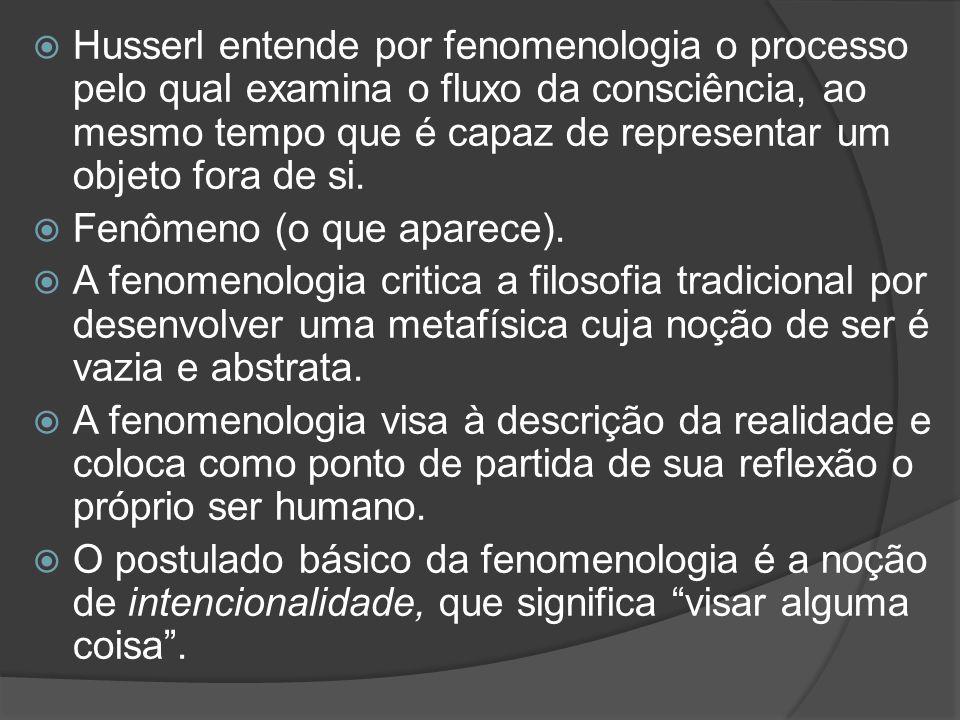 Husserl entende por fenomenologia o processo pelo qual examina o fluxo da consciência, ao mesmo tempo que é capaz de representar um objeto fora de si.