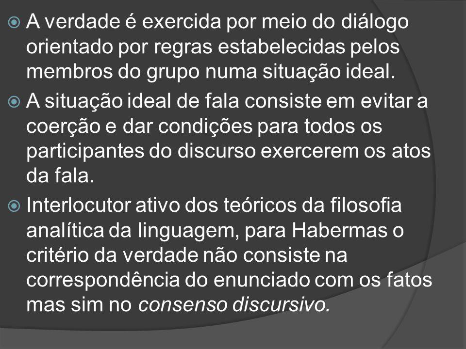 A verdade é exercida por meio do diálogo orientado por regras estabelecidas pelos membros do grupo numa situação ideal.