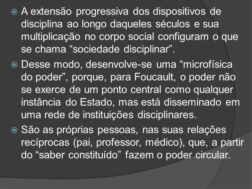 A extensão progressiva dos dispositivos de disciplina ao longo daqueles séculos e sua multiplicação no corpo social configuram o que se chama sociedade disciplinar .