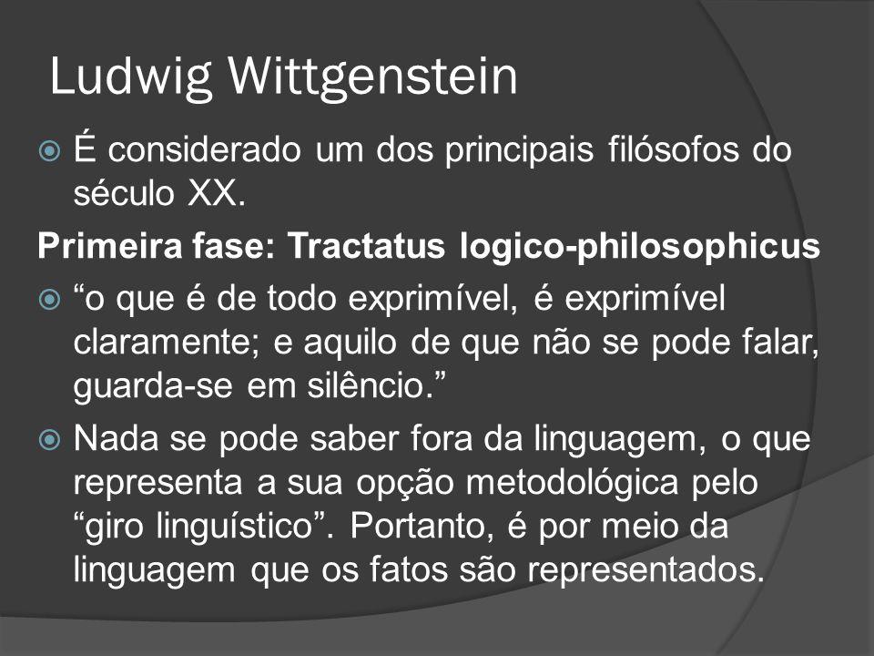 Ludwig Wittgenstein É considerado um dos principais filósofos do século XX. Primeira fase: Tractatus logico-philosophicus.