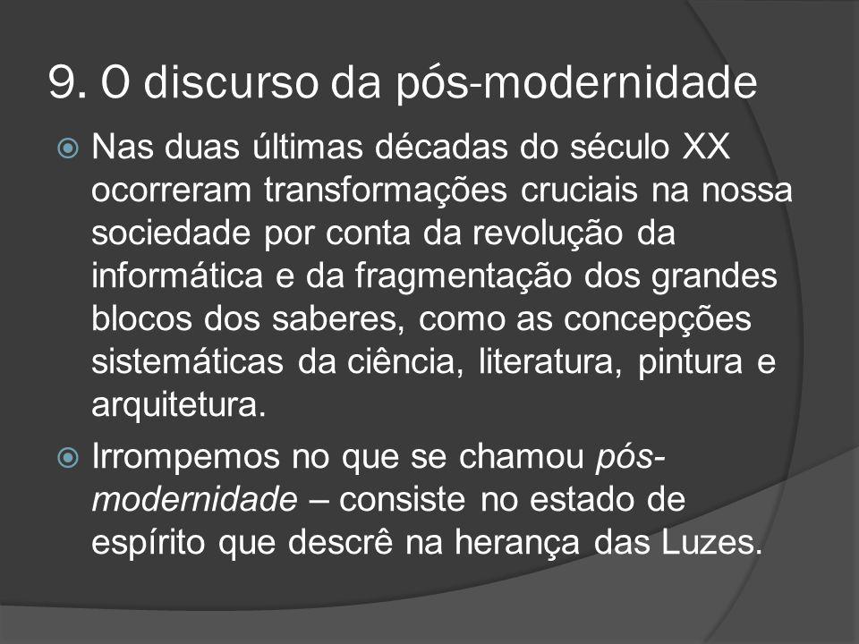 9. O discurso da pós-modernidade