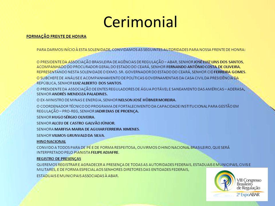 Cerimonial FORMAÇÃO FRENTE DE HONRA