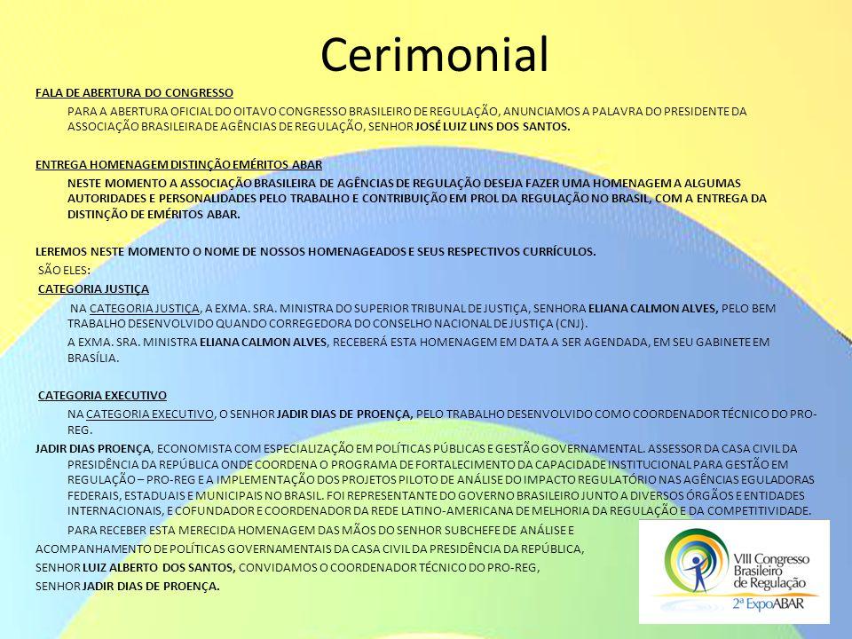 Cerimonial FALA DE ABERTURA DO CONGRESSO