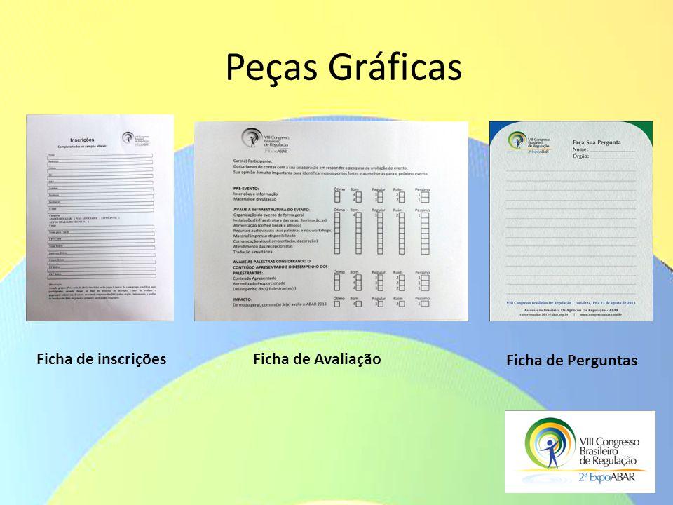 Peças Gráficas Ficha de inscrições Ficha de Avaliação