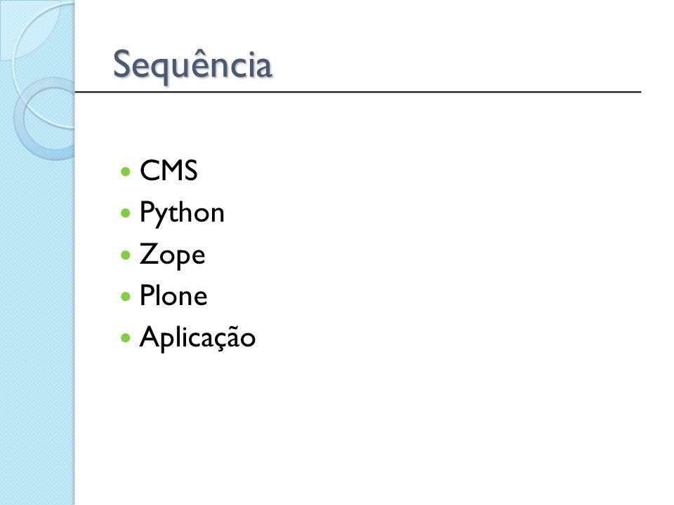 Sequência CMS Python Zope Plone Aplicação