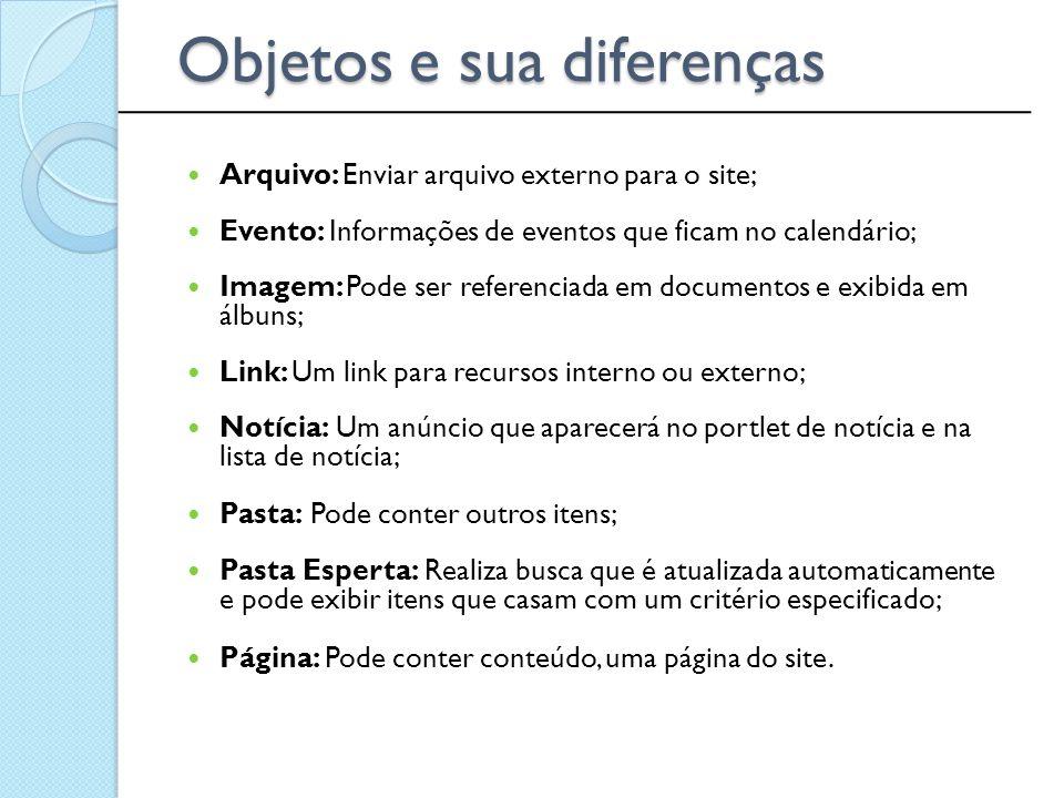 Objetos e sua diferenças