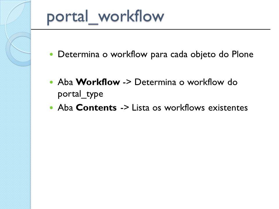 portal_workflow Determina o workflow para cada objeto do Plone