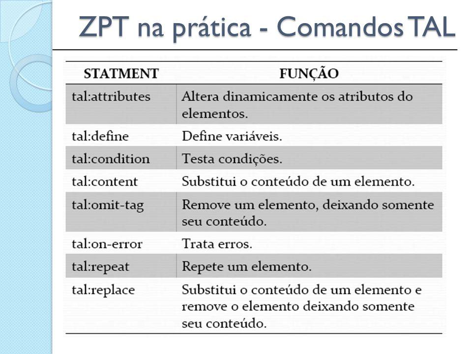 ZPT na prática - Comandos TAL
