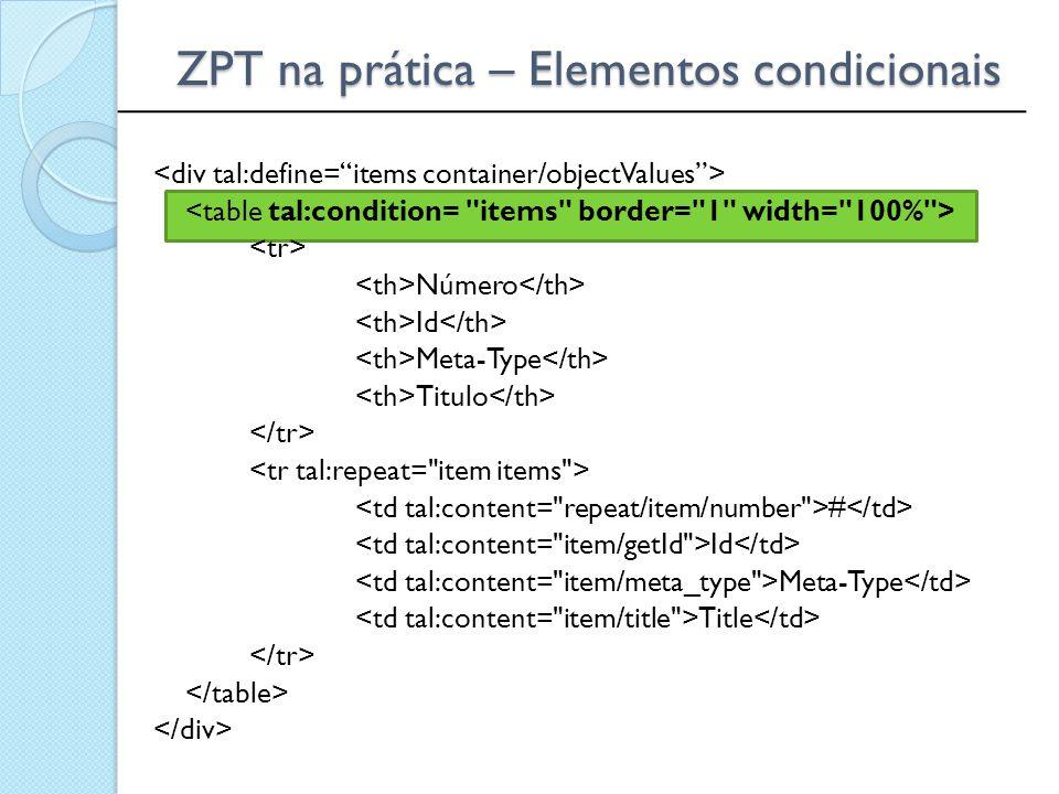 ZPT na prática – Elementos condicionais