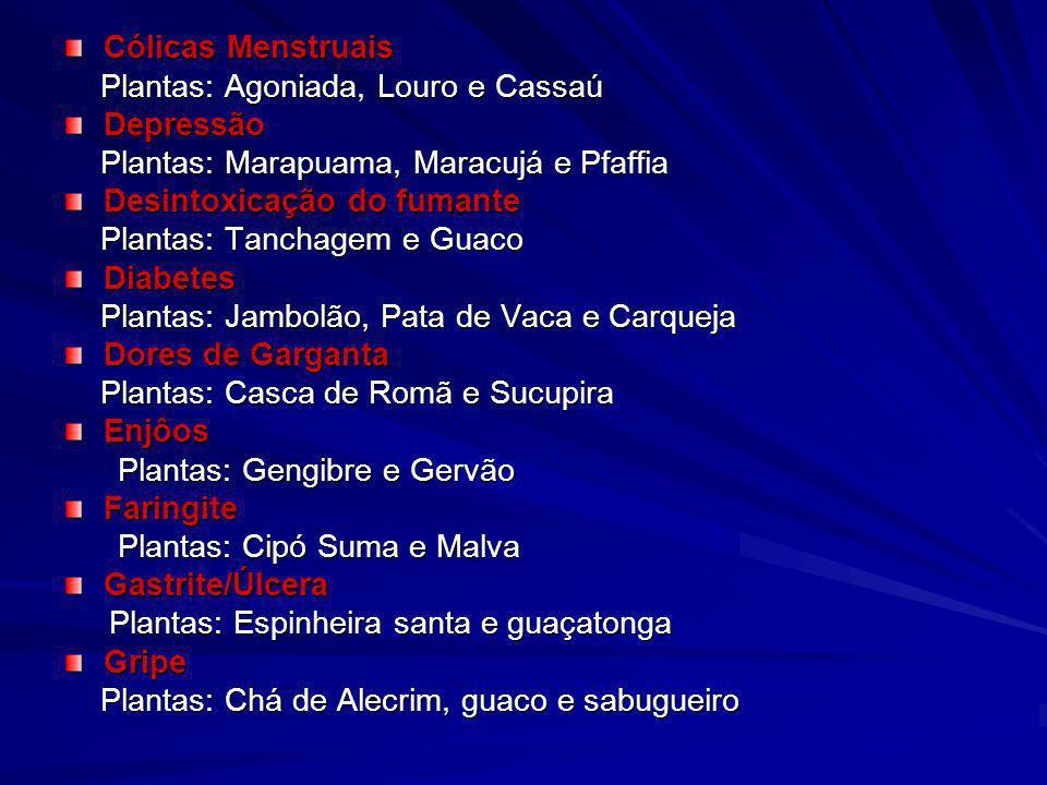 Cólicas Menstruais Plantas: Agoniada, Louro e Cassaú. Depressão. Plantas: Marapuama, Maracujá e Pfaffia.