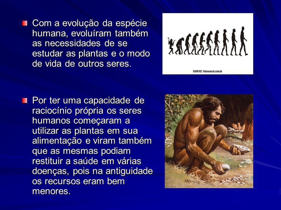 Com a evolução da espécie humana, evoluíram também as necessidades de se estudar as plantas e o modo de vida de outros seres.
