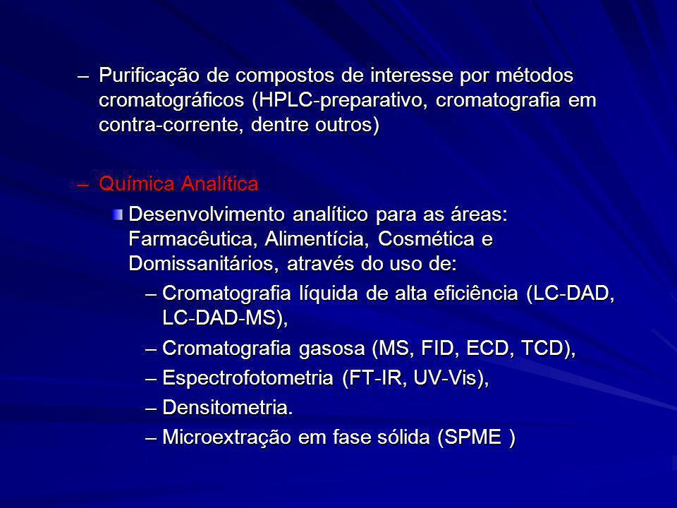 Purificação de compostos de interesse por métodos cromatográficos (HPLC-preparativo, cromatografia em contra-corrente, dentre outros)