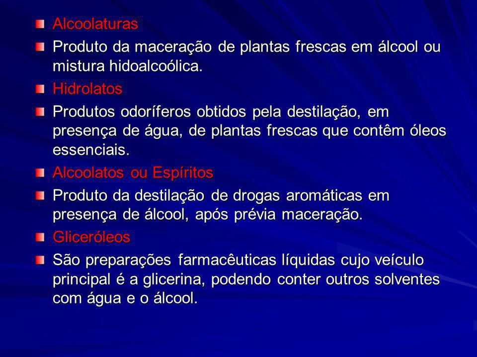 Alcoolaturas Produto da maceração de plantas frescas em álcool ou mistura hidoalcoólica. Hidrolatos.