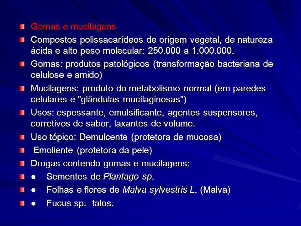 Gomas e mucilagens Compostos polissacarídeos de origem vegetal, de natureza ácida e alto peso molecular: 250.000 a 1.000.000.
