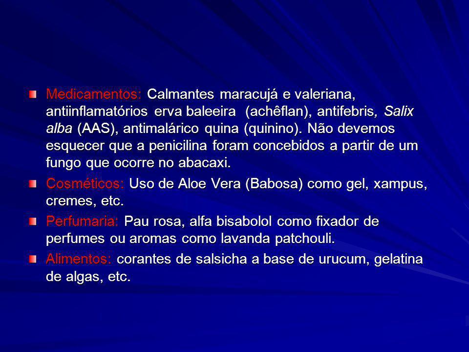 Medicamentos: Calmantes maracujá e valeriana, antiinflamatórios erva baleeira (achêflan), antifebris, Salix alba (AAS), antimalárico quina (quinino). Não devemos esquecer que a penicilina foram concebidos a partir de um fungo que ocorre no abacaxi.