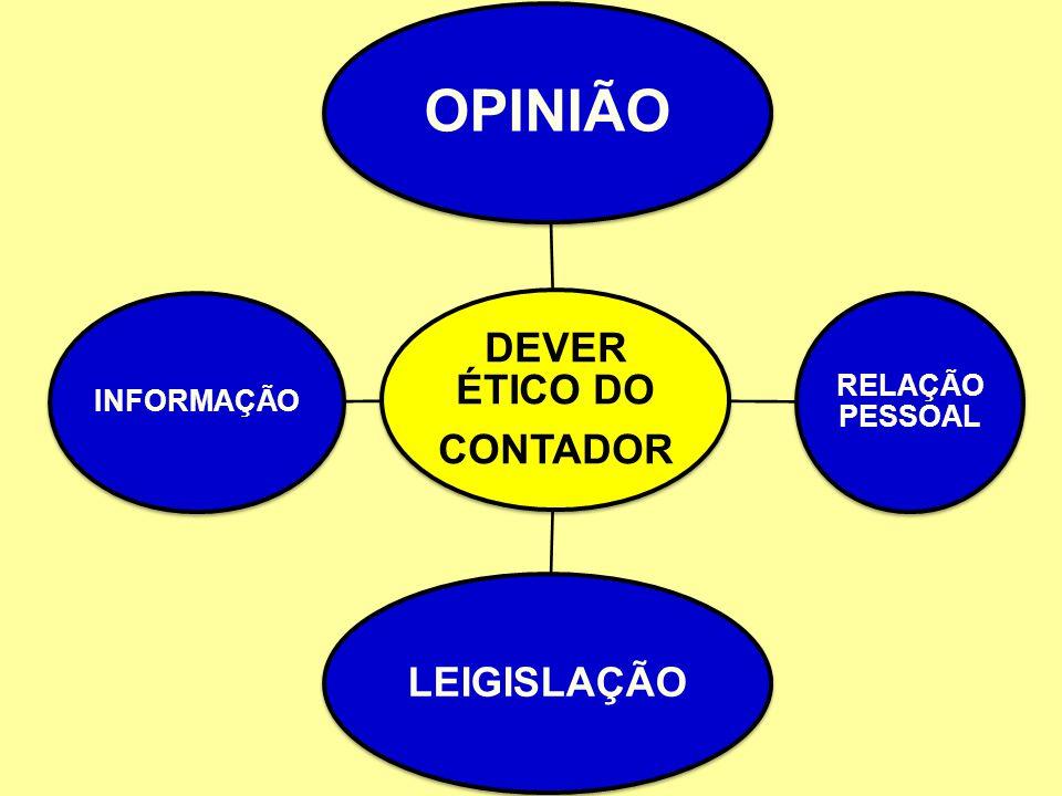DEVER ÉTICO DO CONTADOR OPINIÃO RELAÇÃO PESSOAL LEIGISLAÇÃO INFORMAÇÃO