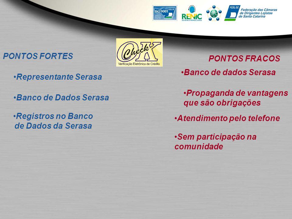 PONTOS FORTES PONTOS FRACOS. Banco de dados Serasa. Representante Serasa. Propaganda de vantagens.