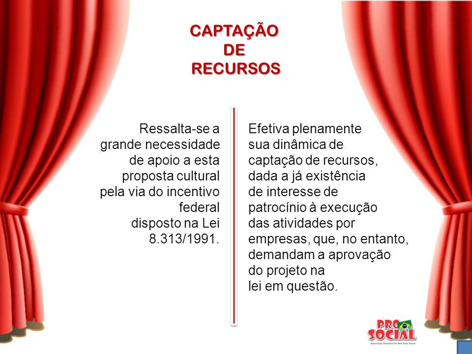 CAPTAÇÃO DE RECURSOS Ressalta-se a grande necessidade