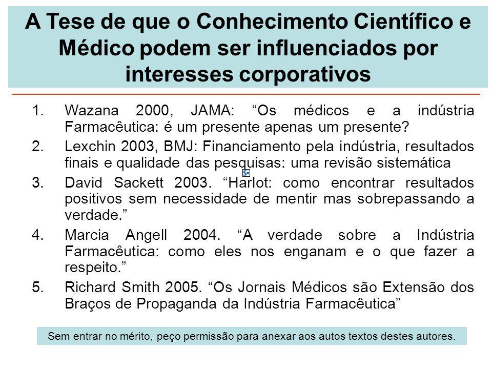A Tese de que o Conhecimento Científico e Médico podem ser influenciados por interesses corporativos
