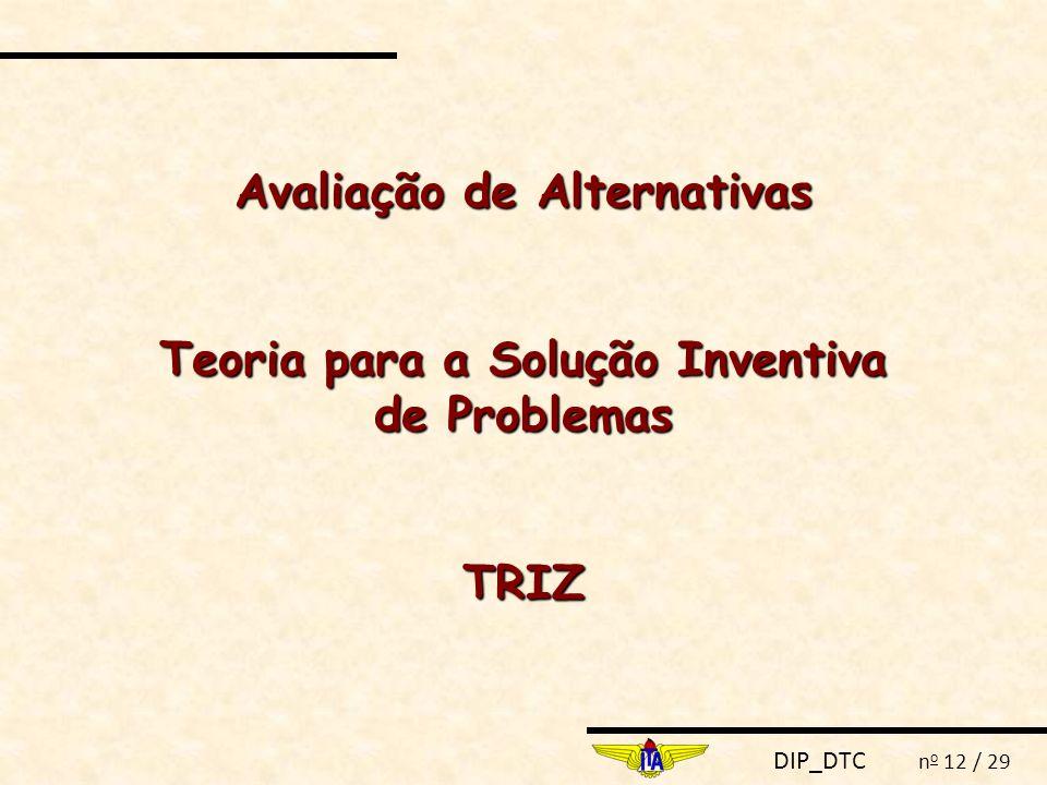 Avaliação de Alternativas Teoria para a Solução Inventiva de Problemas