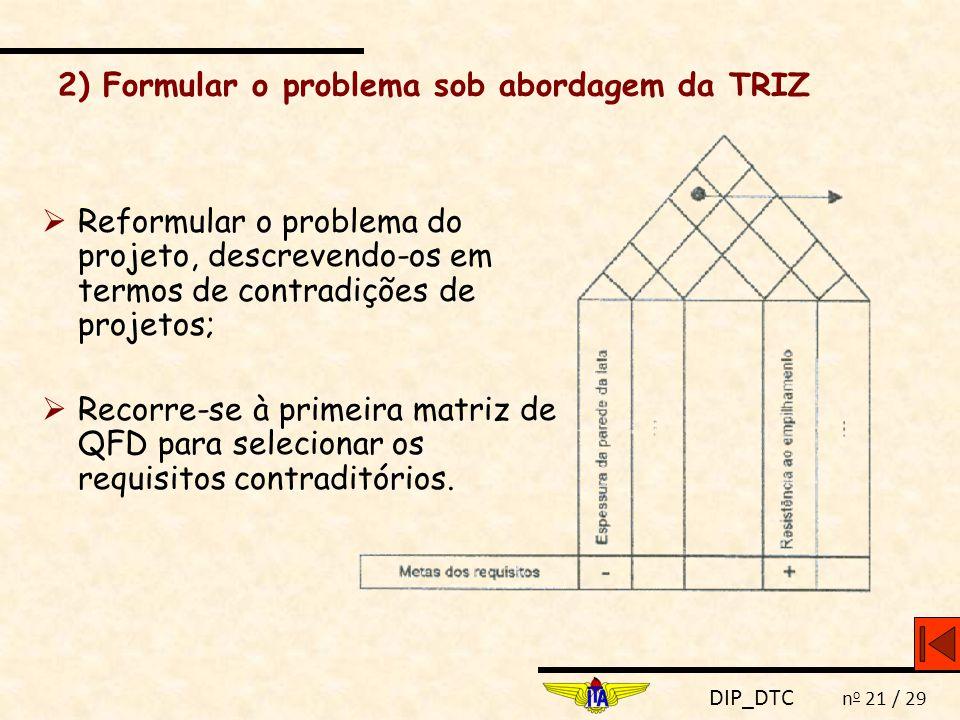 2) Formular o problema sob abordagem da TRIZ
