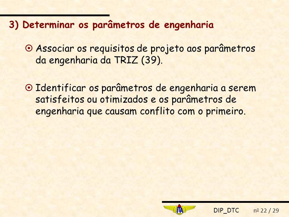 3) Determinar os parâmetros de engenharia