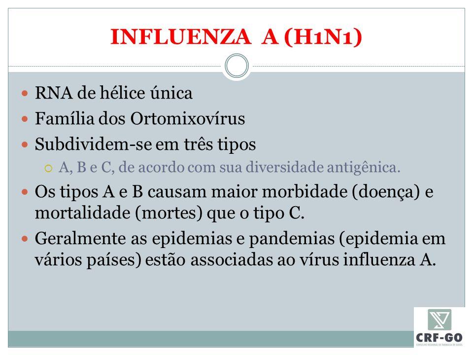 INFLUENZA A (H1N1) RNA de hélice única Família dos Ortomixovírus