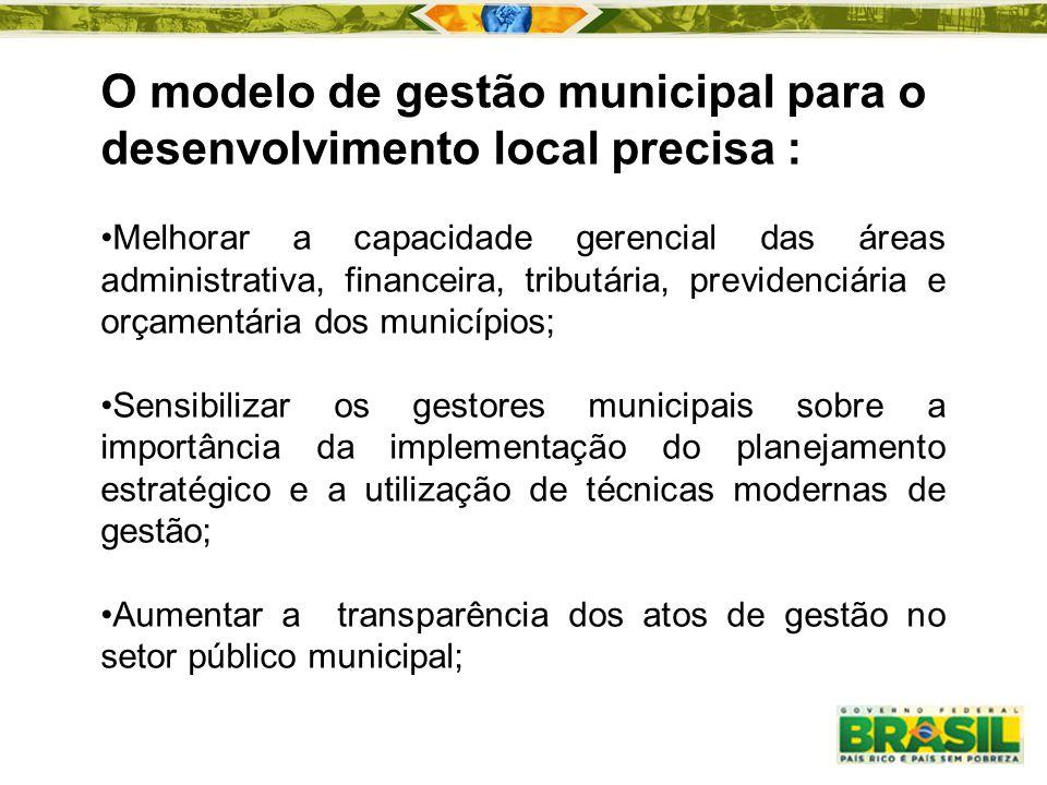 O modelo de gestão municipal para o desenvolvimento local precisa :