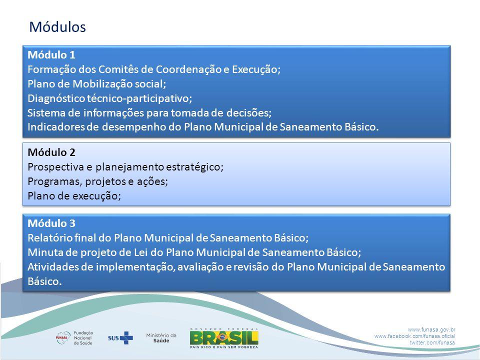 Módulos Módulo 1 Formação dos Comitês de Coordenação e Execução;