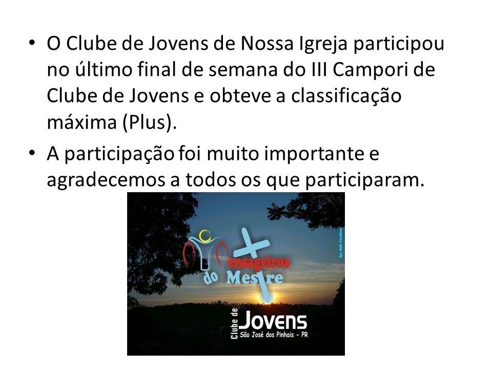 O Clube de Jovens de Nossa Igreja participou no último final de semana do III Campori de Clube de Jovens e obteve a classificação máxima (Plus).