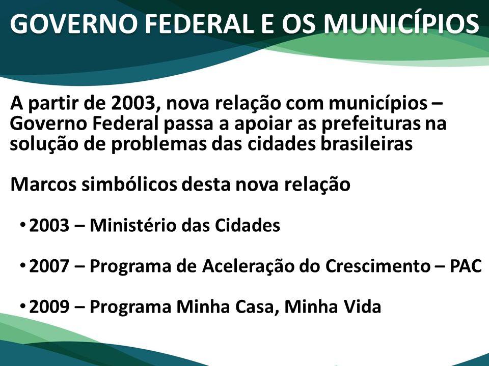 GOVERNO FEDERAL E OS MUNICÍPIOS