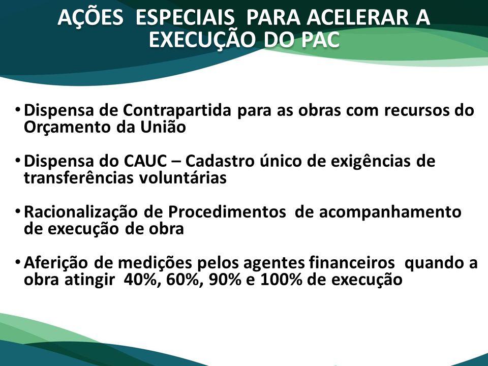 AÇÕES ESPECIAIS PARA ACELERAR A EXECUÇÃO DO PAC
