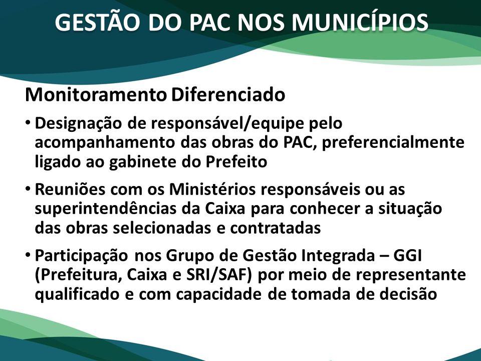 GESTÃO DO PAC NOS MUNICÍPIOS