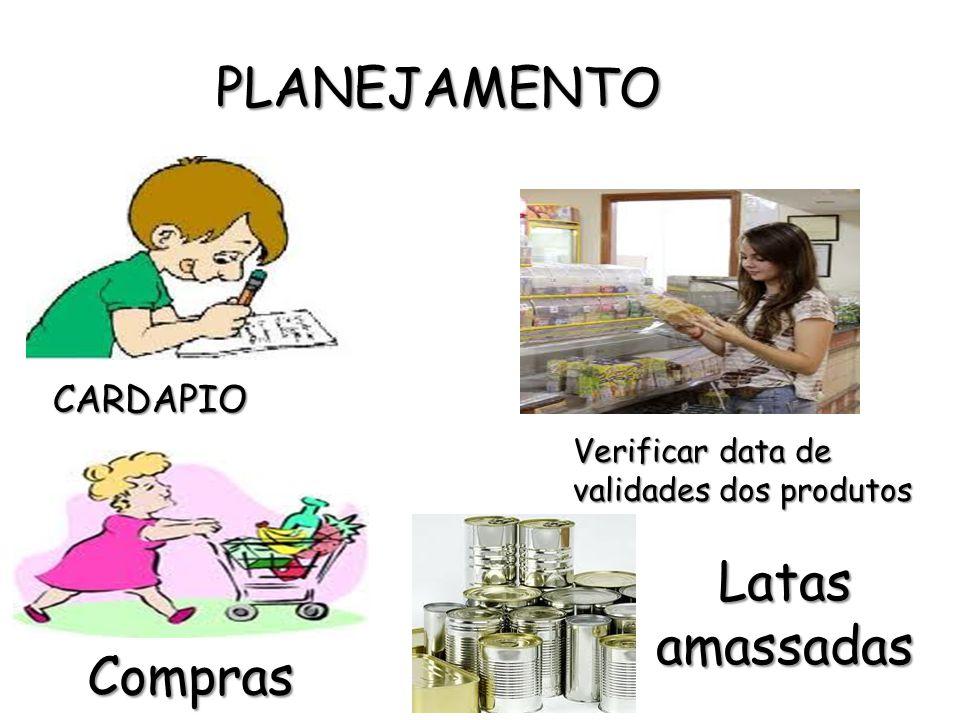 PLANEJAMENTO Latas amassadas Compras CARDAPIO
